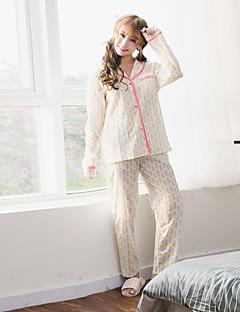여자 2 PC의 바지 잠옷 정장 긴 소매 파인애플 패턴 잠옷 정장