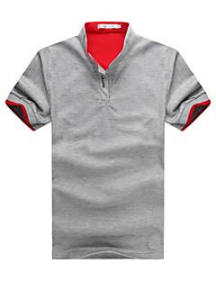 メンズ 誕生日 オフィス/キャリア 日常 春 夏 Polo,シンプル スタンド ソリッド ポリエステルとコットン混 半袖 薄手