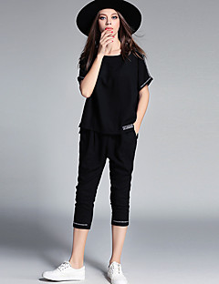 Damen Buchstabe & Nummer Alltag Normal T-Shirt-Ärmel Hose Anzüge,Hemdkragen Frühling Sommer Mikro-elastisch