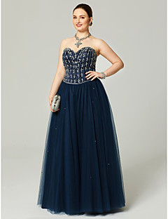 A-Line Sweetheart Floor Length Tulle Formal Evening Dress with Beading Crystal Detailing Pleats by TS Couture®
