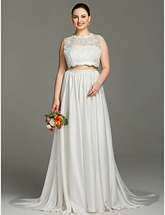 A-Line Two Piece Jewel Neck Court Train Lace Charmeuse Wedding Dress with Appliques Buttons by LAN TING BRIDE®
