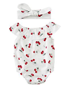 bebê Peça Única Estampado Verão Misturas de algodão Sem Manga