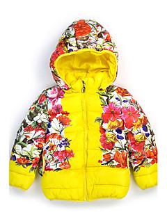 Genç Kız Pamuklu Polyester Çiçekli Sonbahar Kış Uzun Kol Şişme ve Pamuk Pedli