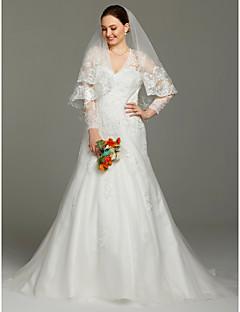 LAN TING BRIDE A-linje Bryllupskjole - Glamorøs & Dramatisk Gjennomsiktige Hoffslep V-hals Blonder Sateng Tyll med Appliqué