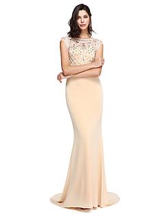 マーメイド/トランペットスクープネックコートトレインポリエステルフォーマルイブニングドレス