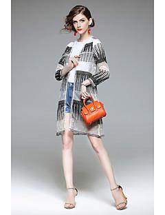 Damen Solide Einfach Retro Festtage Ausgehen Lässig/Alltäglich Jacke,Rundhalsausschnitt Sommer Lange Ärmel Lang Polyester Stickerei