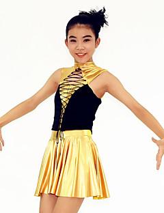 Žene Dječji-Outfits- zaKostimi za navijačice Moderni plesovi Jazz Seksi blagdanski kostimi(Zlato,Elastična tkani satena Lycra Metal,Volani