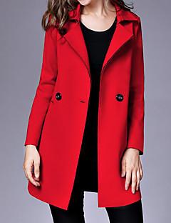 여성 솔리드 셔츠 카라 긴 소매 코트,단순한 캐쥬얼/데일리 보통 나일론 가을 겨울