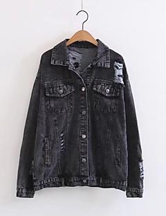 여성 프린트 스탠드 긴 소매 데님 자켓,단순한 스포츠 캐쥬얼/데일리 보통 면 봄 가을