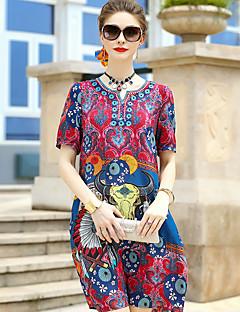 Damer Sødt I-byen-tøj Skede Kjole Trykt mønster,Kæreste Knælang Kortærmet Silke Sommer Alm. taljede Mikroelastisk Medium