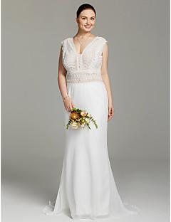 LAN TING BRIDE Sereia Vestido de casamento - Chique & Moderno Sem costas Transparências Cauda Escova Decote V Chiffon Renda com Renda