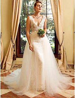 מעטפת \ עמוד צלילה שובל כנסייה (צ'אפל) תחרה טול שמלת חתונה עם אפליקציות על ידי LAN TING BRIDE®