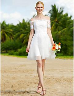 A-Şekilli Düğün elbisesi - Şık & Modern Küçük Beyaz Elbiseler Kwiatowa koronka Kısa / Mini Tül ile Aplik Kuşaklar / Kurdeleler