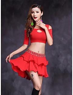 Göbek Dansı Kıyafetler Kadın's Performans Modal 2 Parça Yarım Kol Doğal Etekler Üstler