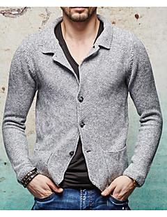 メンズ シンプル カジュアル/普段着 レギュラー カーディガン,ソリッド シャツカラー 長袖 コットン 春 薄手 マイクロエラスティック