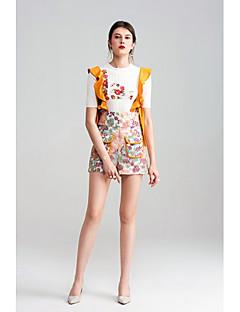 Damen Niedlich Retro Street Schick Mittlere Hüfthöhe Mikro-elastisch Kurze Hosen Overall Schlank Hose,Bestickt Stickerei Blume