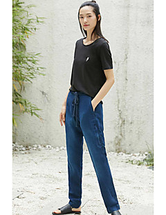 Femme simple Taille Normale non élastique Jeans Chino Pantalon,Mince Couleur Pleine