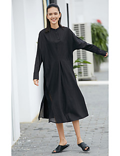 Kadın Günlük/Sade Çan Elbise Solid,Uzun Kollu Bisiklet Yaka Midi Polyester Yaz Normal Bel Esnemez İnce