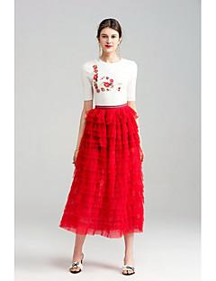 Damen Einfach Niedlich Ausgehen Lässig/Alltäglich Midi Röcke Schaukel,Tüll Gefaltet Mehrschichtig einfarbig Sommer