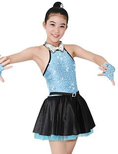 ג'אז שמלות בגדי ריקוד נשים בגדי ריקוד ילדים ביצועים ספנדקס סאטן נצנצים 4 חלקים בלי שרוולים טבעי שמלה כפפות Neckwear