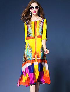 Kadın Dışarı Çıkma Sade Çin Stili Salaş Elbise Desen,3/4 Kol Yuvarlak Yaka Midi İpek Polyester Bahar Yaz Normal Bel Esnemez Orta