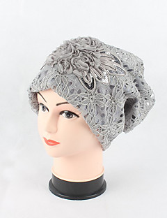 Women's Cotton Lace Beanie Floppy Hat Headwear Cute Casual Chic & Modern Daily Knitwear Hats Jacquard Spring Fall Floral Cap Black/Beige/Grey