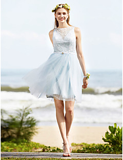LAN TING BRIDE Knee-length Bateau Bridesmaid Dress - See Through Sleeveless Lace Tulle