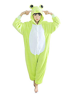Kigurumi Pyjamas Frø Trikot/Heldragtskostumer Festival/Højtider Nattøj Med Dyr Halloween Grøn Patchwork Polarfleece Kigurumi Til Unisex