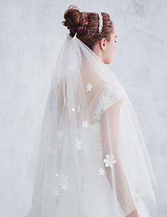 Véus de Noiva Uma Camada Véu Cotovelo Corte da borda Tule