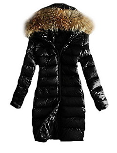 Women's Long Padded Coat,Street chic Casual/Daily Solid-Cotton Polypropylene Long Sleeve