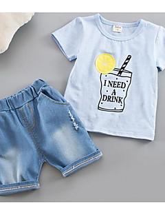 Drenge Indstiller Trykt mønster,Bomuld Sommer Tøjsæt