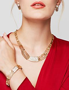 Жен. Набор украшений Заявление ожерелья Браслет Серьги Кольцо Бижутерия Позолота 18K золото Мода Массивные украшения бижутерия Бижутерия