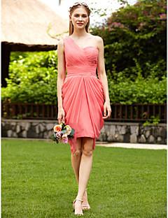 LAN TING BRIDE Knee Length One Shoulder Bridesmaid Dress - Open Back Sleeveless Chiffon