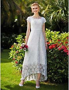 LAN TING BRIDE A-linje Bryllupskjole Simpelthen elegant Asymmetrisk Besmykket Blonder Tyll med Drapering Blomsternål i krystall