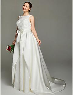 LAN TING BRIDE A-Linie Svatební šaty - Elegantní & moderní Open Back Dva díly Velmi dlouhá vlečka Klenot Krajka Satén sAplikace Mašle