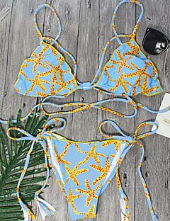 女性 ストラップ付き ビキニ フラワーパターン アニマルプリント 大きく開いた胸元 プリント