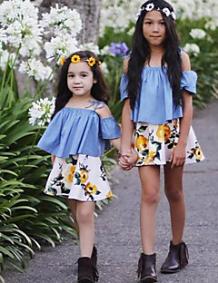 Para Meninas Conjuntos Fashion Floral Estampado Verão Algodão Manga Curta Conjunto