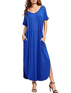Ample Robe Femme Décontracté / Quotidien simple,Couleur Pleine Col en V Maxi Manches Courtes Coton Eté Taille Normale Non Elastique Moyen
