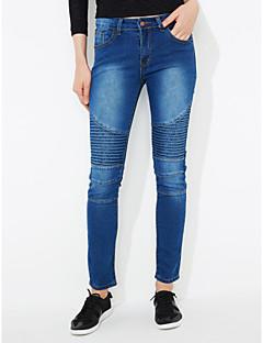 Damer Enkel Mikroelastisk Tynde Jeans Bukser,Alm. taljede Trykt mønster