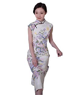 Uma-Peça/Vestidos Lolita Clássica e Tradicional Inspiração Vintage Cosplay Vestidos Lolita Estampado Vintage Sem Manga Cheongsam Para