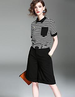 Damen Gestreift Street Schick Lässig/Alltäglich T-Shirt-Ärmel Hose Anzüge,Ständer Sommer Herbst Kurzarm Mikro-elastisch