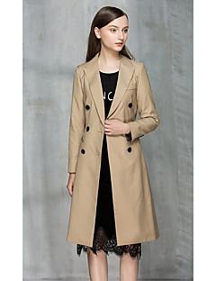 여성 솔리드 셔츠 카라 긴 소매 트렌치 코트,스트리트 쉬크 데이트 긴 폴리에스테르 가을 겨울