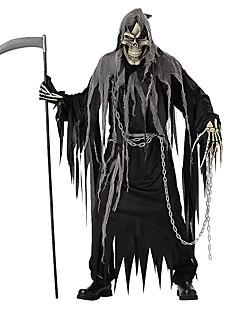 Skelet/Kranium Cosplay Manden med leen Cosplay Kostumer Halloweentillbehör Festival/Højtider Halloween Kostumer Sort Helfarve Trikot