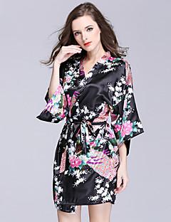 Dame Kjoler Sateng og silke Nattøy,Trykt mønster Sexy Trykt mønster Polyester
