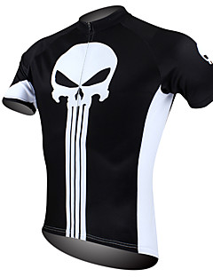 ILPALADINO Cycling Jersey Men's Short Sleeves Bike Jersey Tops Quick Dry Ultraviolet Resistant Breathable 100% Polyester Skulls Spring