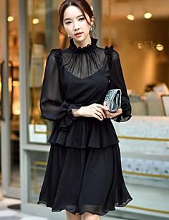 Feminino Evasê balanço Vestido,Festa Feriado Para Noite Casual Trabalho Sensual Vintage Simples Sólido Colarinho Chinês Acima do Joelho