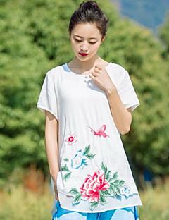 Kadın Pamuklu Kısa Kollu Yuvarlak Yaka Solid Çiçekli Desen Sade Günlük/Sade-Kadın Tişört
