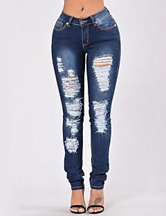 Dames Sexy Street chic Hoge taille Skinny Rekbaar Jeans Broek Gescheurde,Effen