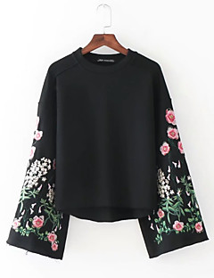 Women's Casual/Daily Sweatshirt Solid Print Round Neck Micro-elastic Polyester Long Sleeve Spring