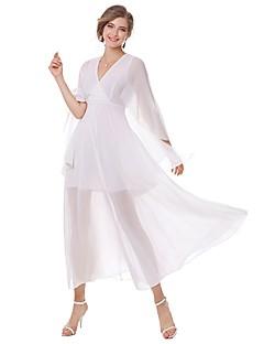 Feminino Evasê Bainha Chifon Vestido,Para Noite Casual Simples Moda de Rua Sólido Decote V Médio Manga Longa Algodão Verão OutonoCintura